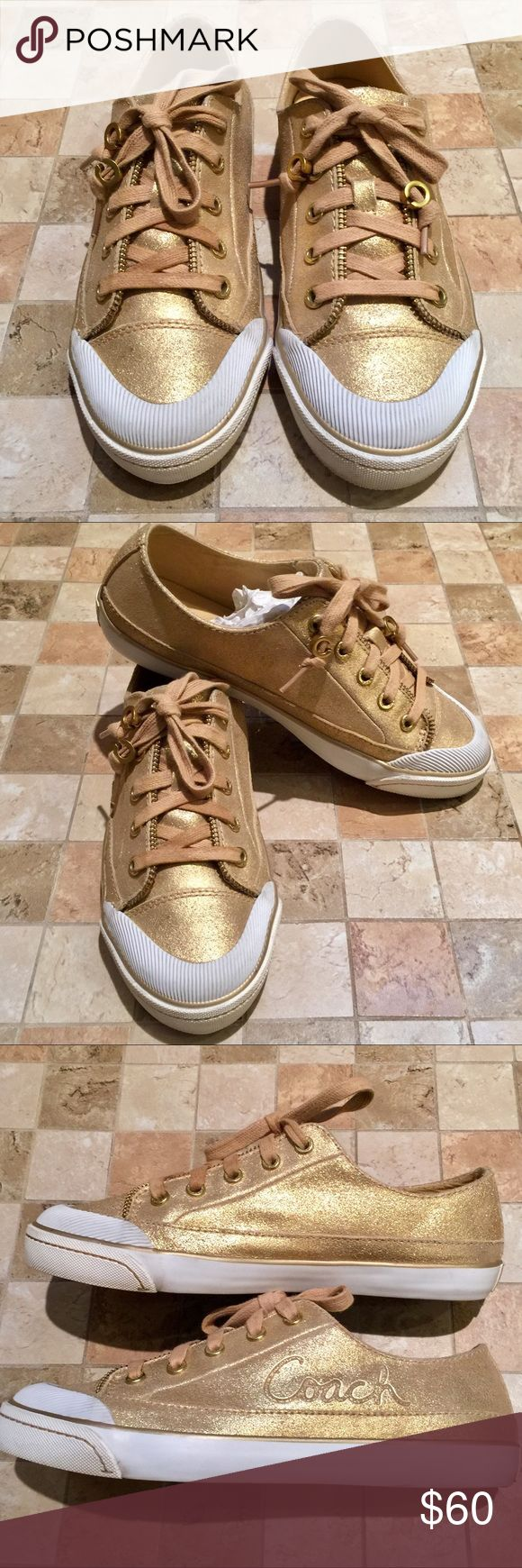 Coach Flame Sneakers Coach Flame Sneakers, Size 8. Excellent condition.  Worn maybe 3 times.  Gold shimmer exterior, Coach Logo on the outside of each shoe, & on the back.  The shoelaces have adorable gold C's on the ends.                    Tags: Coach gold sneakers, converse, vans, puma Coach Shoes Sneakers