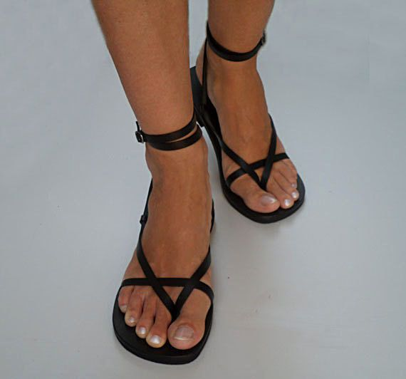 Delicate And Stylish Double Ankle Strap Leather Sandals by Calpas, $50.00