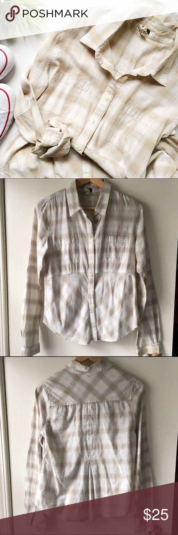 Free People Plaid Button Down Great neutral colors to transition through all seasons. Good with jeans and boots or white shorts and wedges. In excellent condition.   🚫 No Trades/🅿️🅿️ ✨ 100% Authentic 💵 Offers Welcome 💰 Bundle Discount 📬 Ships in 1-2 Days Free People Tops Button Down Shirts