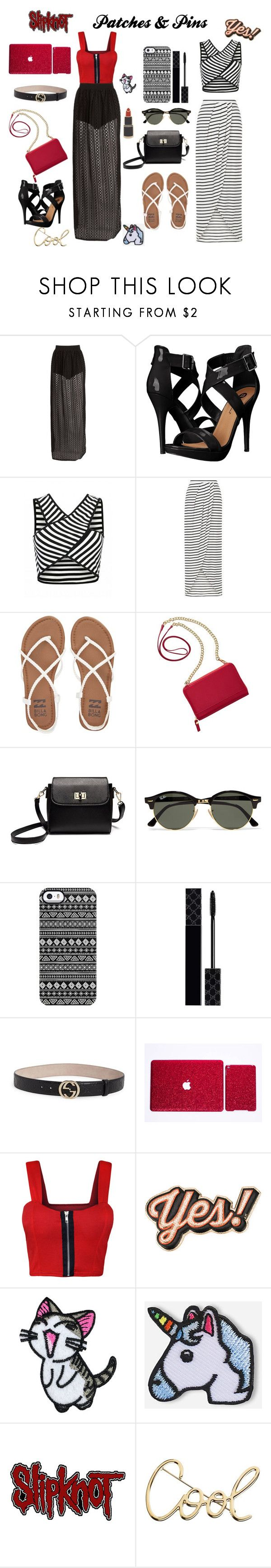 """Patches and Pins"" by anar120899 ❤ liked on Polyvore featuring Boohoo, Michael Antonio, New Look, Billabong, TravelSmith, Ray-Ban, Giuseppe Zanotti, Gucci, WearAll and Anya Hindmarch"