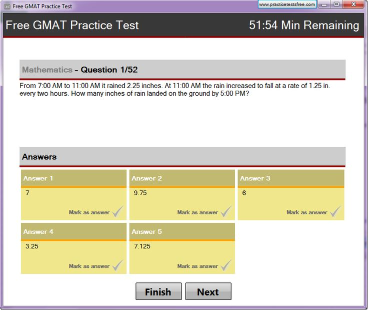 Free gmat practice test software