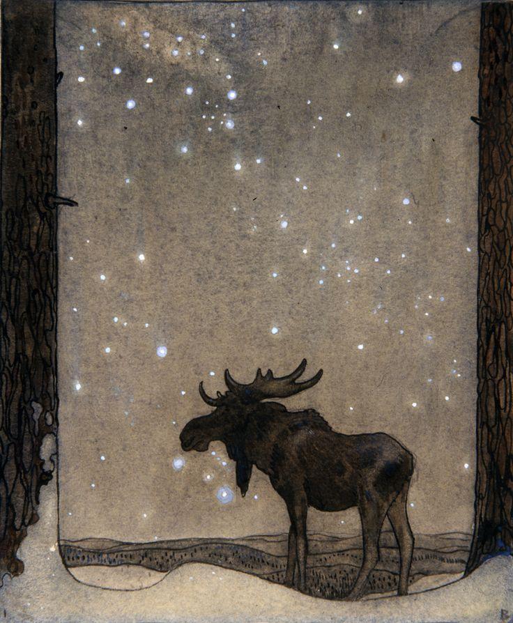 "NB: ""I like the mystic of this pic.""  John Bauer  (Swedish 1882–1918) Älgteckning (Elk drawing)"