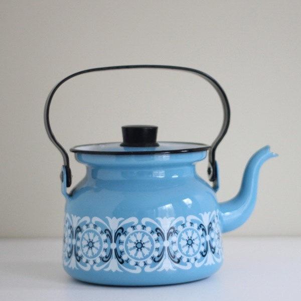 Mid Century Kaj Franck Design Blue Enamel Large Tea Pot Kettle - Arabia Finel