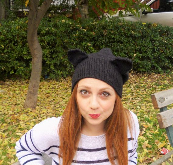 Knitted cat hat/ Cat hat/ Gift for her/ Cat by HeartMadeByMarina