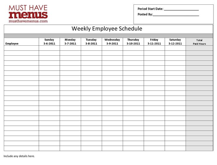 Weekly Employee Schedule Form  Musthavemenus  Work Stuff