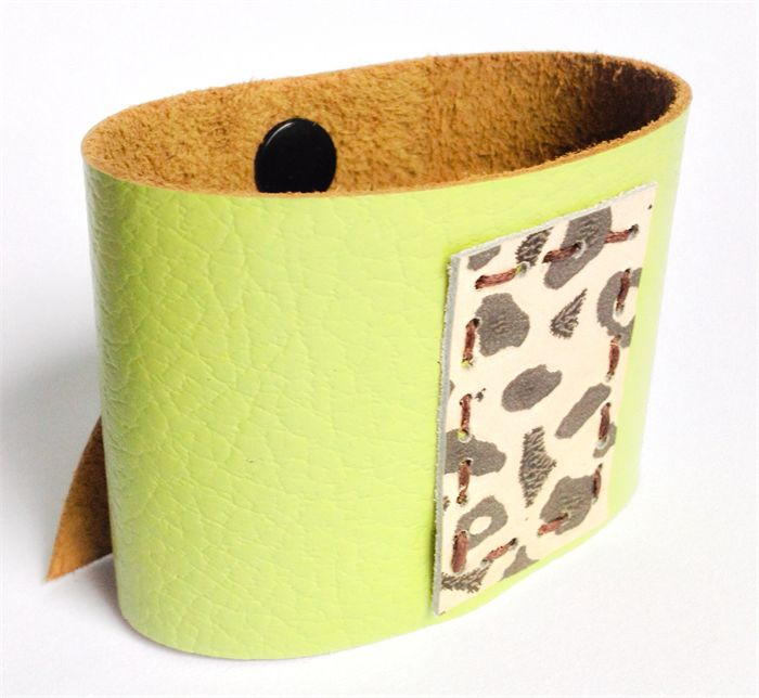 Lime Green leather cuff with Leopard Spots