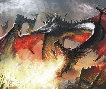 "Balerion (112BC? - 94AC), ""The Black Dread"", the largest and most feared of Aegon the Conqueror's dragons.  His teeth were as long as swords and his jaws big enough to swallow a mammoth whole. His fire was as black as his scales, his wingspan so vast that entire towns would fall under his shadow when he passed overhead."