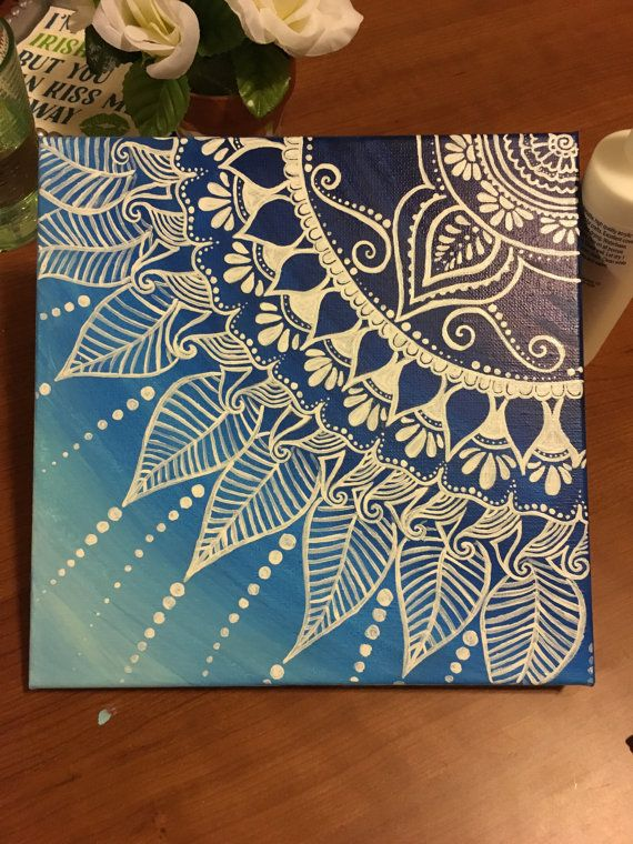 beautiful Cool Designs To Paint On Canvas Part - 2: Blue Ombre Henna canvas by ProperMadeleine on Etsy | Dorm Ideas | Pinterest  | Painting, Art and Canvas