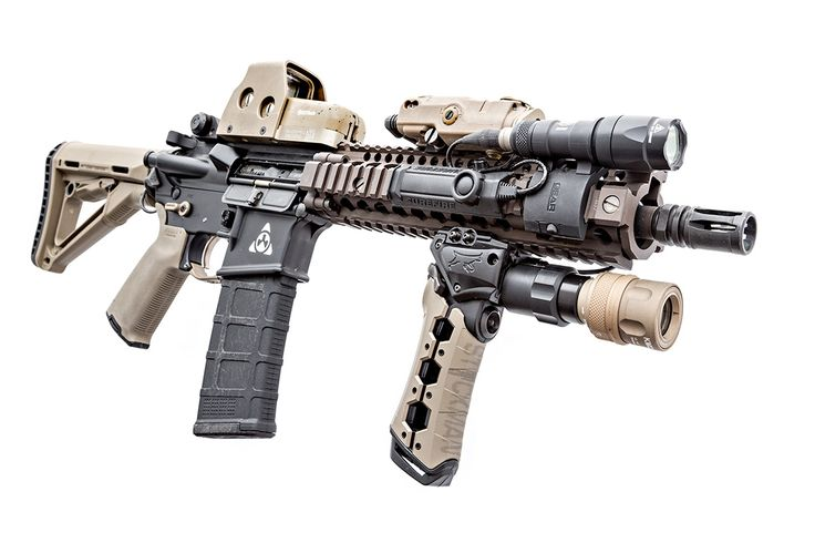Centurion Arms MK18 upper with Daniel Defense MK18 rail. The furniture is Magpul Industries Corp., with Knight's Armament Company BUIS...