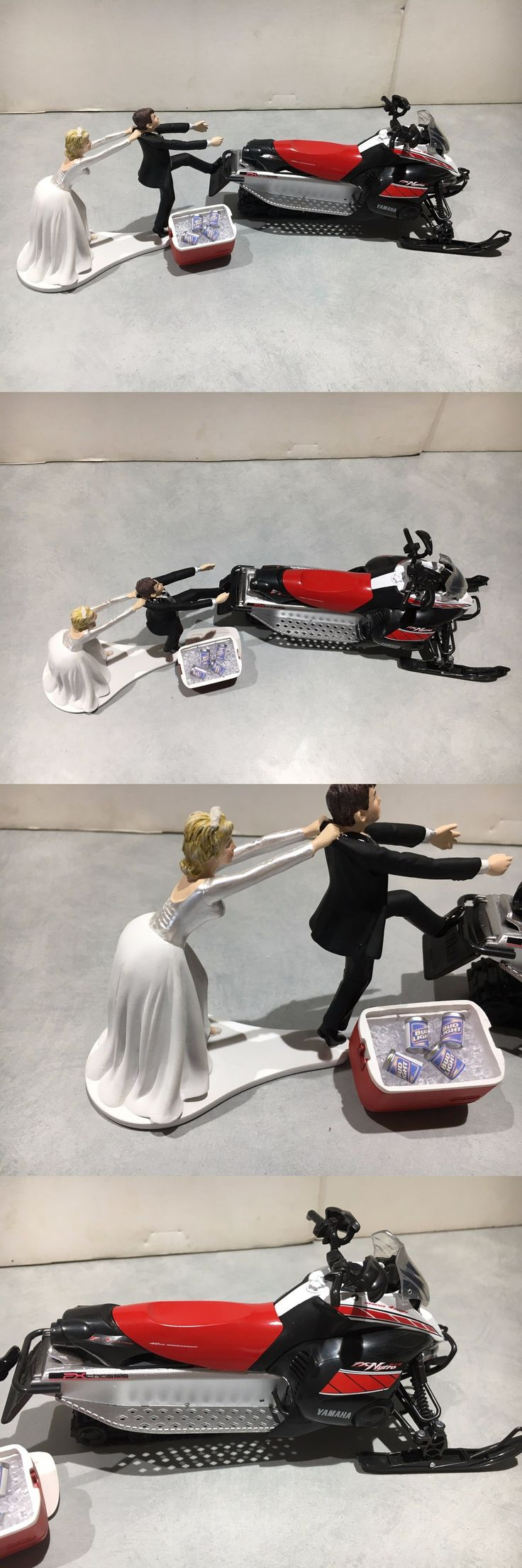 Wedding Cakes Toppers: Yamaha Nytro Snowmobile Funny Bride Groom Wedding Cake Topper Red Bud Light Beer BUY IT NOW ONLY: $79.99