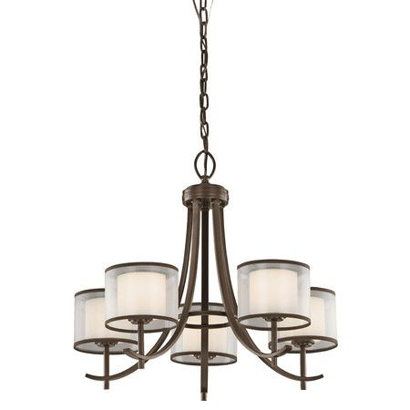 bring elegant appeal to your foyer or dining room with this sleek chandelier showcasing a mission bronze finish and drum shades