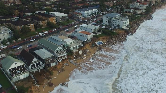 Northern beaches homes, coastline washed away in 'worst storms in 40 years'   SBS News
