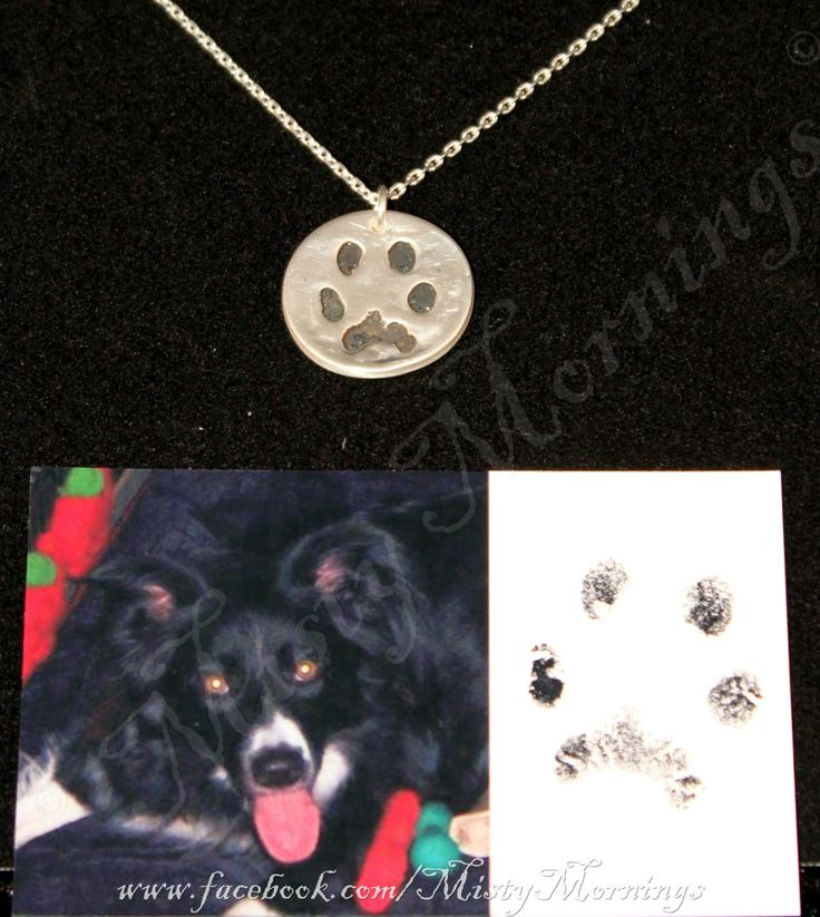 Solid silver paw print necklace