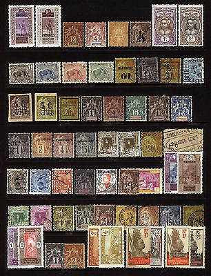 Early French Colonies Odds n Ends Mint & Used, well centered, many neat overprints, Guyane, Martinique, Guadeloupe, Indochina, French Africa etc Fresh, Intense Color. Lovely 60 items item # 1814067713