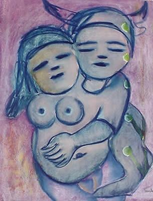 """by Mirka Mora Australian artist.    """"I have drawn my children and painted them endlessly and I cannot distinguish them from my soul.   They live there."""""""