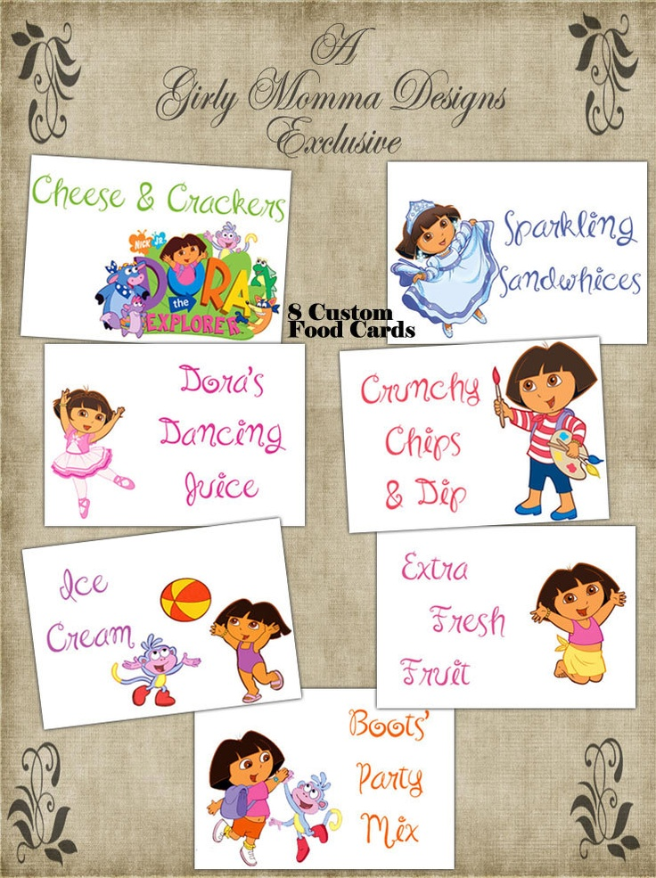 Dora The Explorer Birthday Party Food Place Cards.