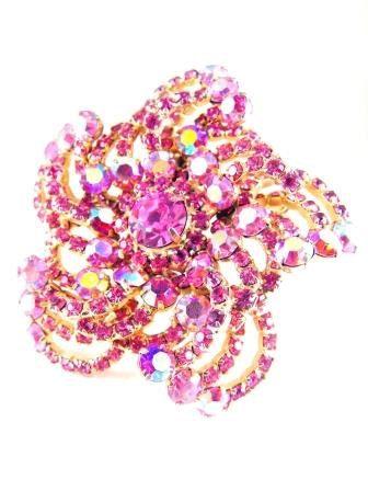 Hattie Carnegie Brooch Spectacular Pink Star Pinwheel Glitzy High End Designer Vintage