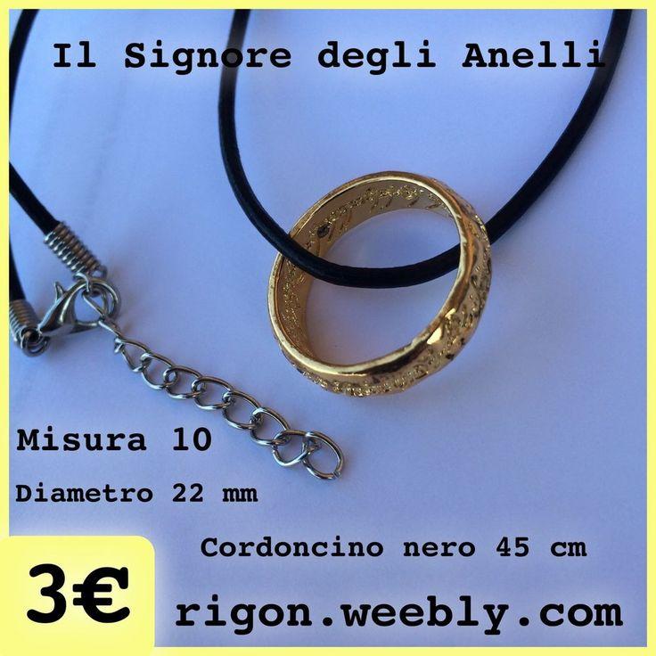 COLLANA ANELLO IL SIGNORE DEGLI ANELLI CON CORDONCINO NERO 3€ NOVITA 2015