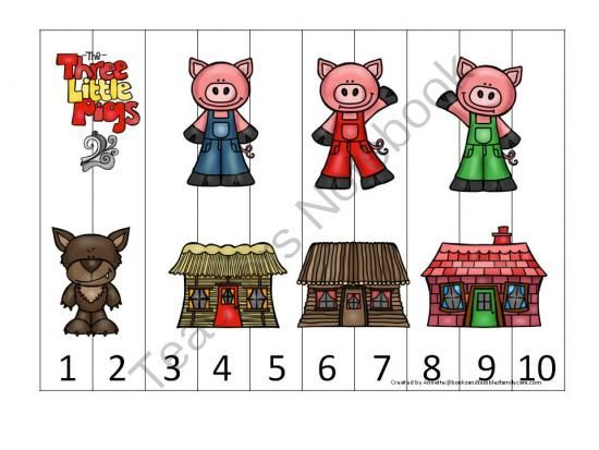 Three Little Pigs preschool learning games. Sequence Puzzle, Whats Next, Number Match, Clip Cards. from teachatdaycare on TeachersNotebook.com - (6 pages) - Three Little Pigs preschool learning games. Sequence Puzzle, What's Next, Number Match, Clip Cards.