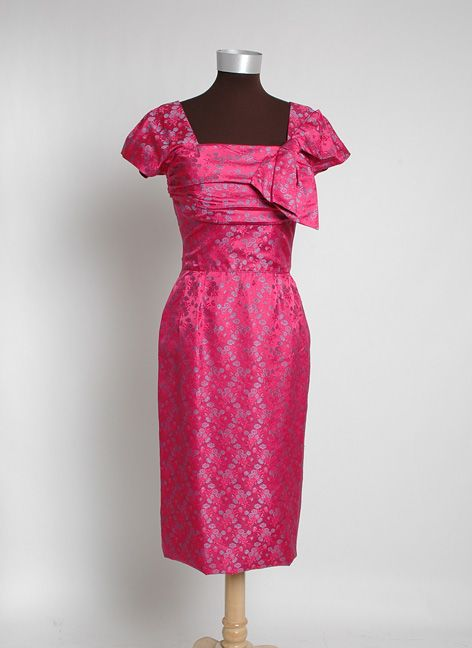 Buy vintage  designer and upscale clothing online from Hemlock Vintage Clothing (more at http://www.hemlockvintageclothing.com). This is a 1950's Cerise Silk Jacquard Cocktail Dress