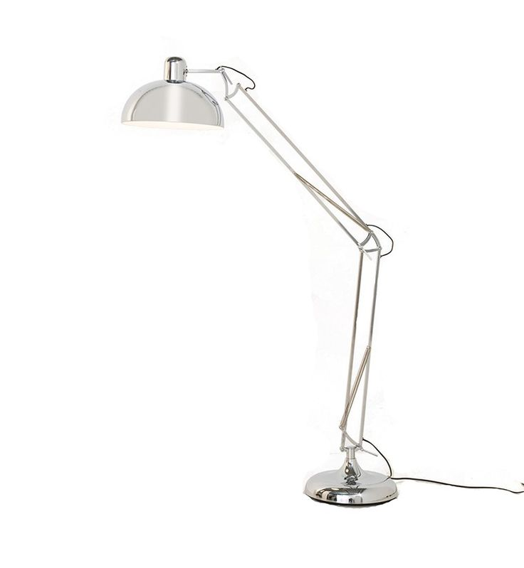 Chrome industrial style giant angle floor light, dwell