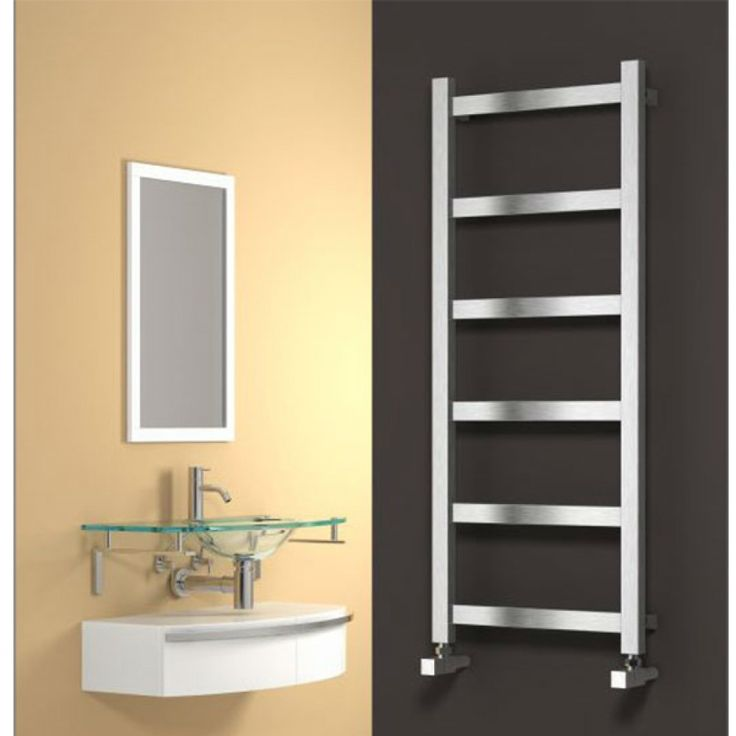 Image for Reina Mina Square Tube Heated Towel Rail 750mm H x 480mm W Brushed Stainless Steel