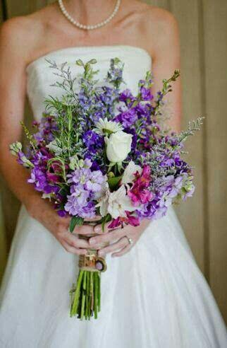 Ultra Pretty Rustic/Country/Shabby Chic Hand Tied Bridal Bouquet Comprised Of: Lavender, Violet & Purple Stock, Lavender Delphinium, Lavender Caspia, Fuchsia Alstromeria, White Roses & White Daisies ~~