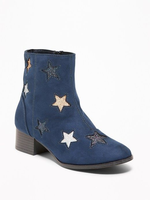 b701cb78326 Sueded Glitter-Star Block-Heel Boots for Girls | i heart stars ...