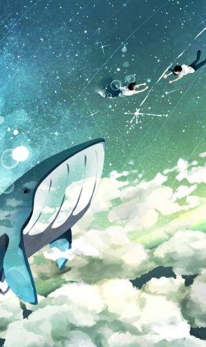 クジラと落ちる二人のiPhone壁紙