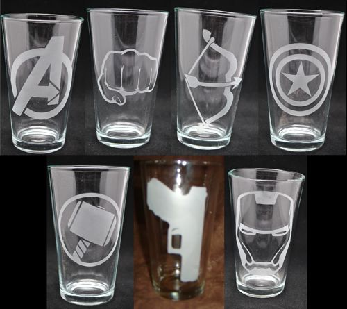 "You Choose ONE (1) Avengers Etched 16oz Drinking Glass.  Pick any one of the following: Iron Man Captain America Hulk Hawkeye Thor Black Widow Avengers  Please include your choice in your ""Note to Sel"