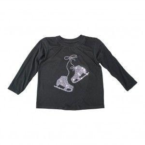 Girls Black Glitter Rhinestone Ice Skates Long Sleeve Cotton T-Shirt 6-16