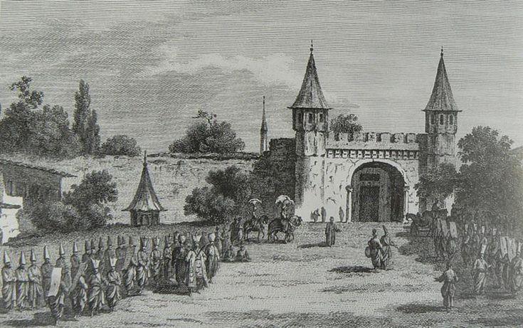#HALİÇ ALBÜMÜ: #TopkapıSarayı'nın Bab-üs Selam olarak bilinen ana kapısını betimleyen gravür (19.yy. / J.A Pierron)