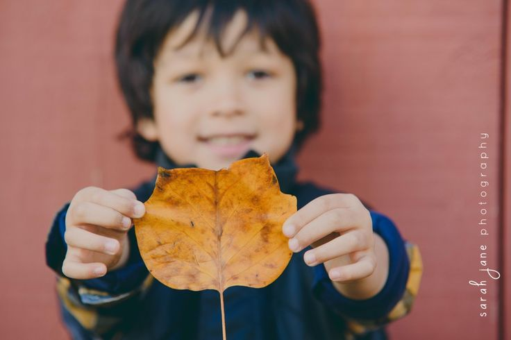 Boy holding out a leaf in front of a barn