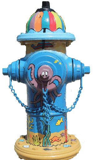 """Artist Ellen Walker painted this hydrant, """"Ocean Life"""", for Athens, GA's Fire Up the Hydrants, a celebration of the value of water. Visit www.thinkatthesink.com to learn more."""