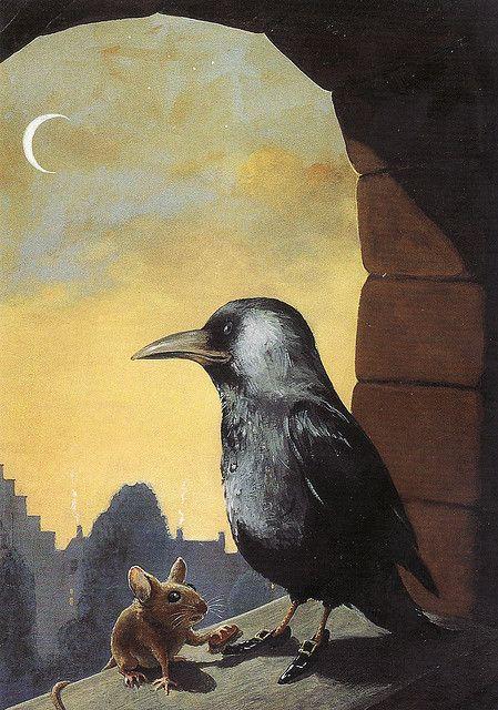 Rudi Hurzlmeier  mouse shining shoes of a crow  . raven moon crescent. art