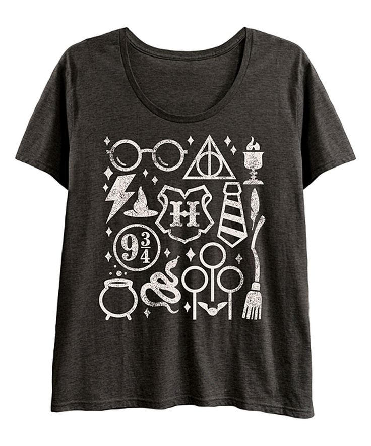 Love this Heather Charcoal Wizard Icons Scoop-Neck Tee - Plus by LC trendz Plus on #zulily! #zulilyfinds