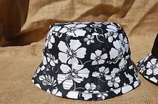 BUCKET HAT men floral schoolboy L/XL fisher cap black/white Q hip hop design
