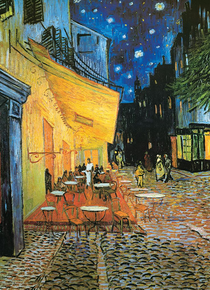 Van Gogh-Cafe at Night 1000-Piece Puzzle. The Cafe Terrace on the Place du Forum in Arles at Night by Vincent Van Gogh.