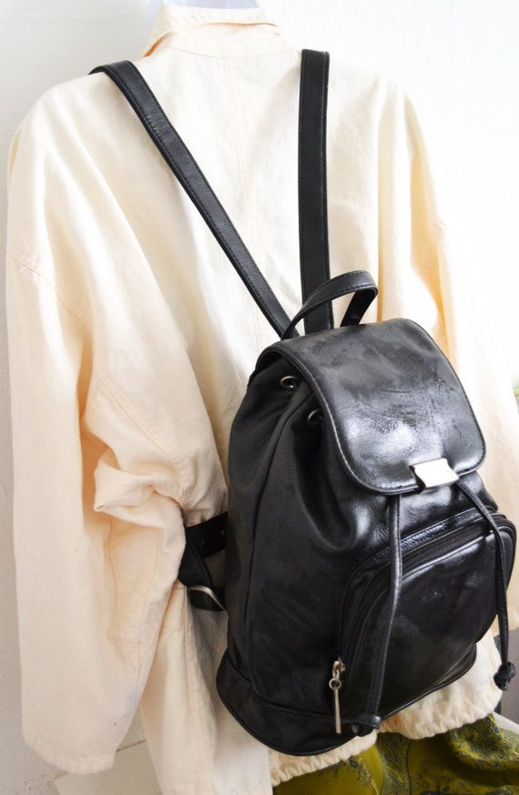 Free Ship Black Faux Leather Backpack Purse Shoulder Bag  52690039d814a