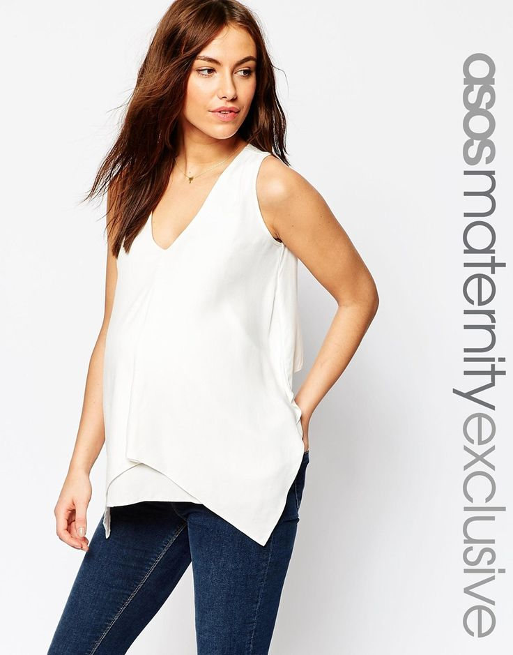 Image 1 of ASOS Maternity NURSING Woven Tank With Overlay
