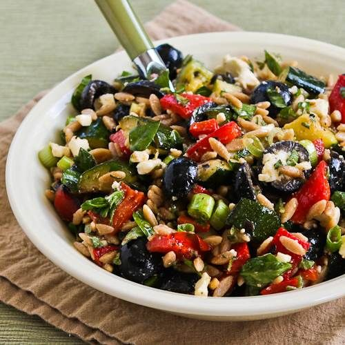 Recipe for Whole Wheat Orzo and Grilled Vegetable Salad with Feta, Olives, and Herbs [#SouthBeachDiet  #Recipe; from Kalyn's Kitchen; visit the blog to see step-by-step photos of this recipe.]