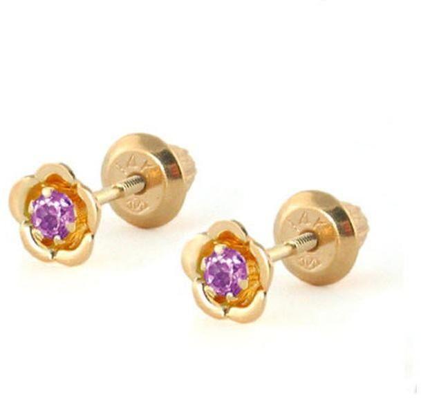 Ice 14K Gold Rhodolite Flower Shape Stud Earrings for Baby