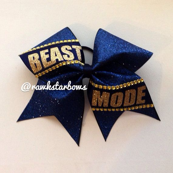 Navy Beast Mode Cheer Bow Glitter Bow Faux Rhinestones  on Etsy, $15.00