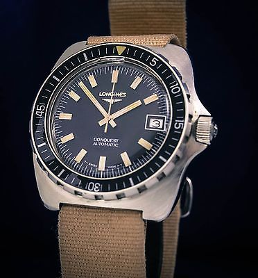 Vintage rare Longines Conquest diver watch Cal 6651 stainless steel oversize