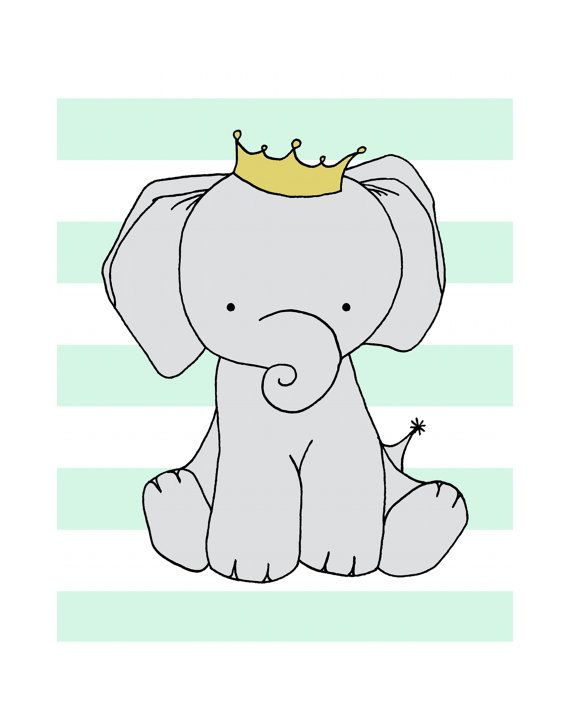 Elephant Nursery Art  --Nursery Decor -- Elephant Art Print -- Crowned Elephant with Stripes, Children Art Print, Wall Art