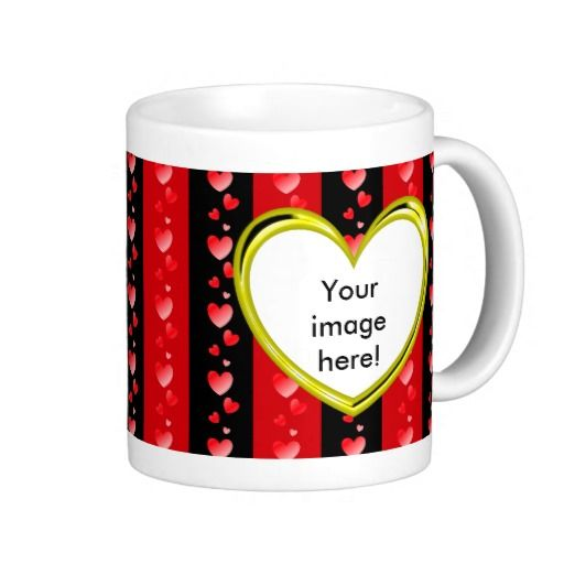 Black Red Gold Stripes Hearts Valentines Day Photo Mug - This mug has a black and red vertical striped background with red and pink hearts running down the stripes. Place your image, picture, photo, name or text inside the gold frame for your husband or wife as a special and personal gift on Valentines Day!