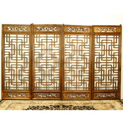 "Antique Asian Chinese Set of 4 Carved Wood Screen Panels Doors 30"" x 75"" Each"
