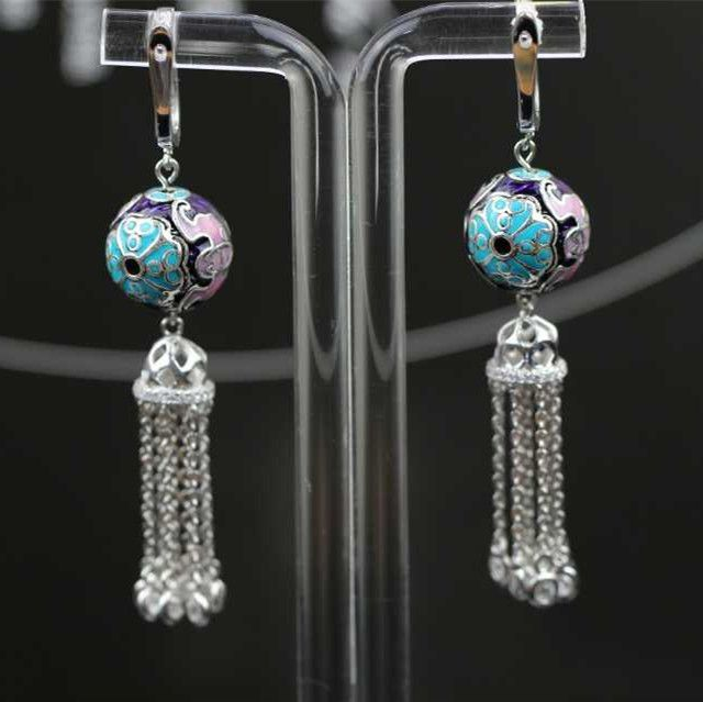 Free Shipment Designer Style Women Fashion Sterling Silver With Platinum Plated Zircon Earring