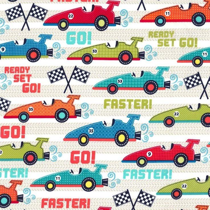 Cx5767 faster multi retro cars automobiles road boy prints for Retro childrens fabric