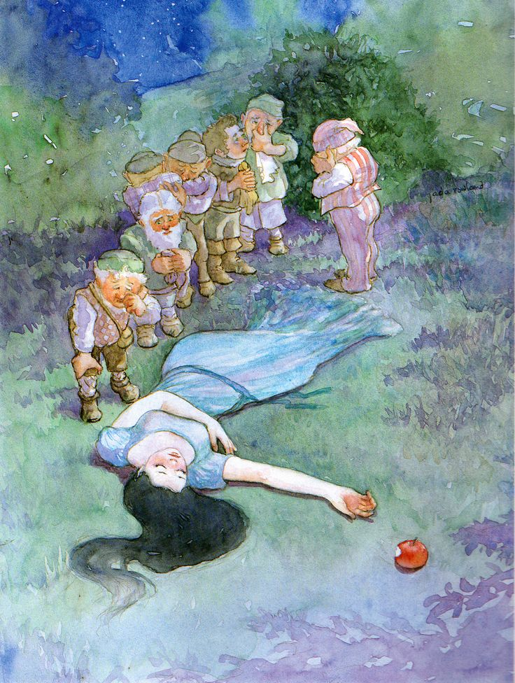 Snow White and the Seven Dwarves Artist: Jada Rowland Image Source: link Book: The Classic Grimm's Fairy Tales Note: The dwarves look like little children in this one. Her hair fades into the grass....